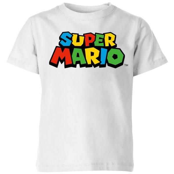 Nintendo Super Mario Colour Logo T-Shirt Kids' T-Shirt - White - 5-6 Years