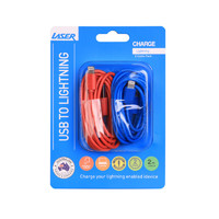 lightning cable twin pack red and blue image