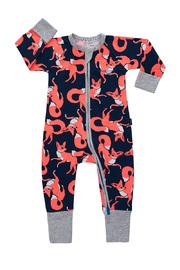 Bonds Zip Wondersuit Long Sleeve - Almost Midnight Fox Trot (Newborn)