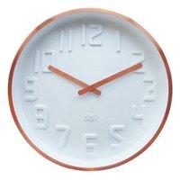 Deluxe Copper Rim Curve Clock - White
