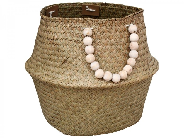 LaVida: Belly Basket - Natural/Beads