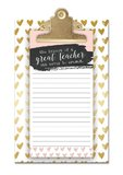 Lady Jane: Small Clipboard With Notepad - Great Teacher