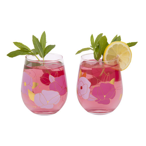 Sunnylife: Stemless Cocktail Glasses Set - Wild Posy