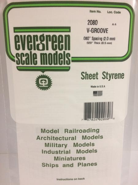 Evergreen Styrene V Groove 15X29cm X.5 mm Sp2 mm