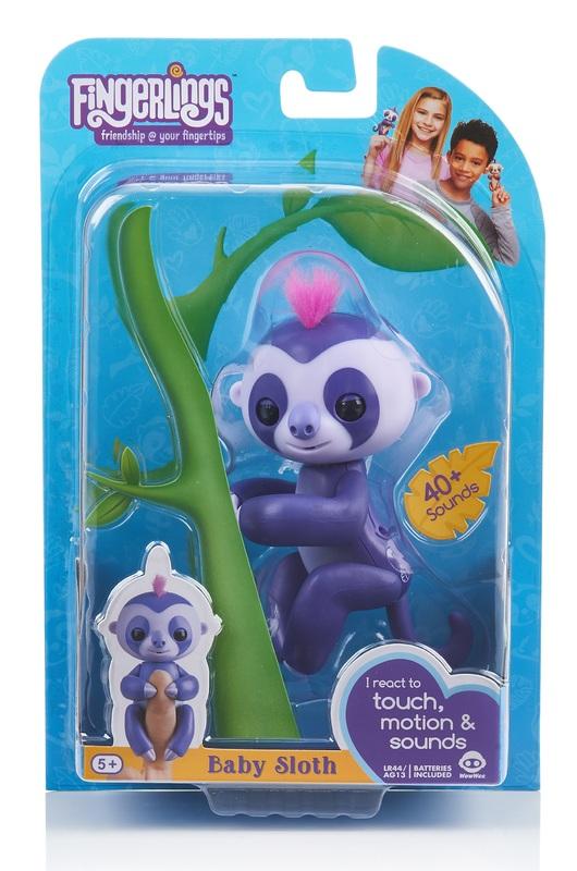 Fingerlings: Interactive Baby Sloth - Purple
