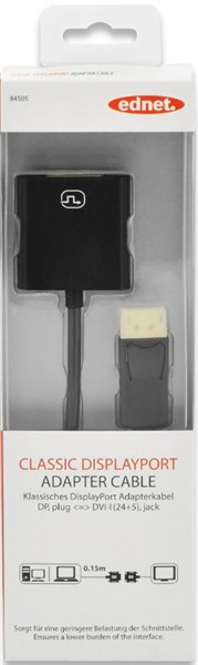 Ednet DisplayPort (M) to DVI-I (F) Adapter Cable image