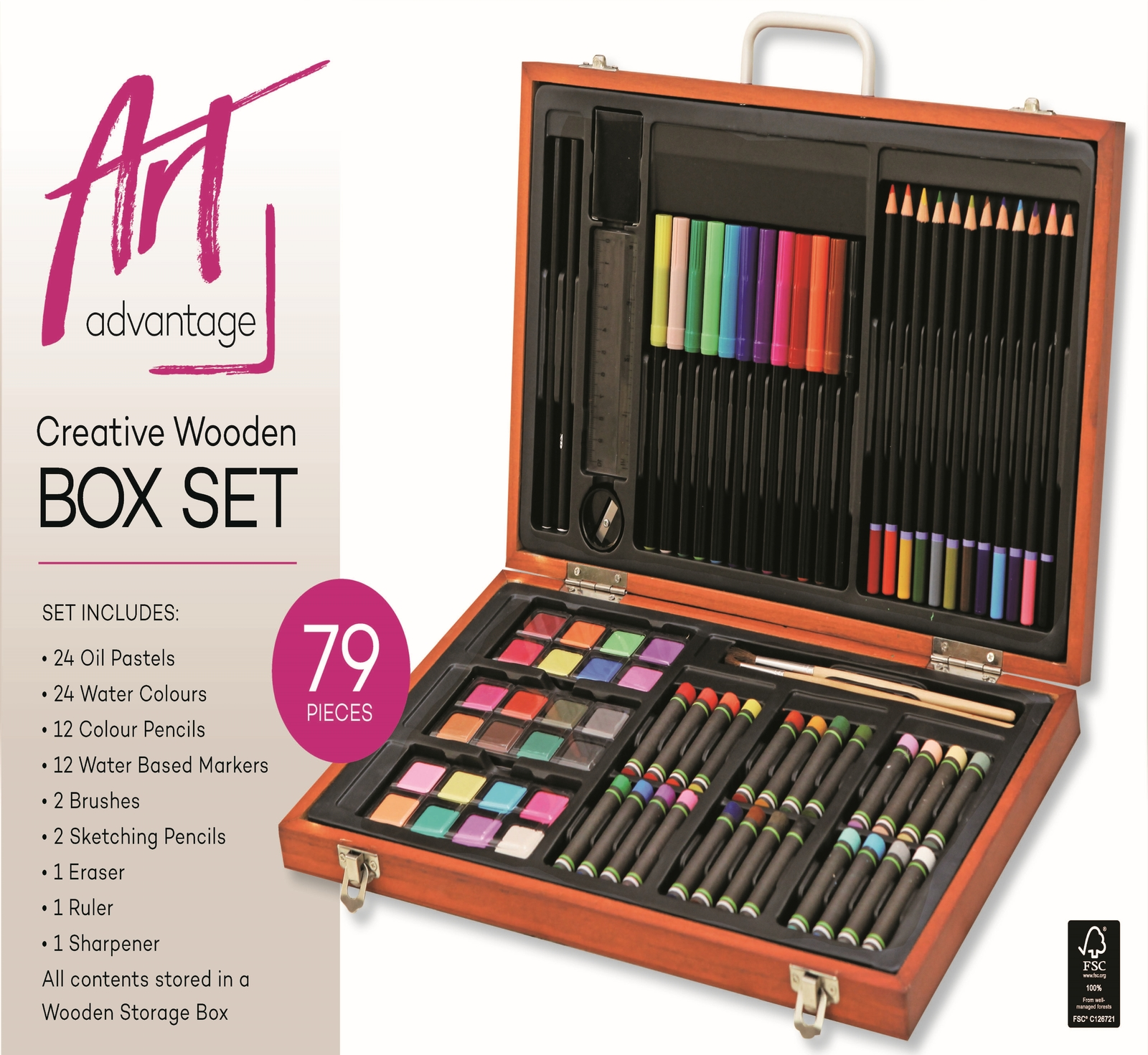 Art Advantage: Creative Wooden Art Box - 79 Pieces image