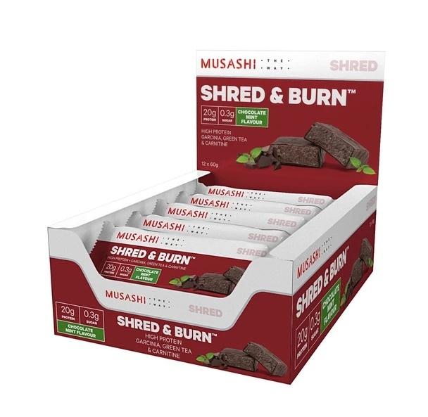 Musashi Shred & Burn Protein Bars - Chocolate Mint (Box of 12)