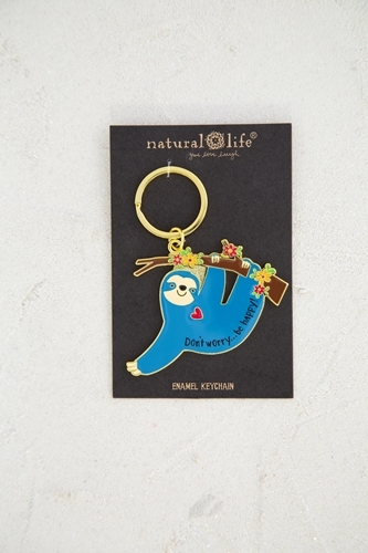 Natural Life: Enamel Keychain - Sloth Be Happy