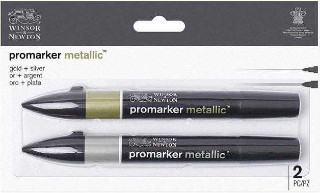 Winsor & Newton: Promarker Metallic - Gold & Silver (Pack of 2)