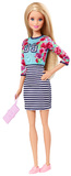 Barbie Fashionista Doll - Floral Top & Stripe Skirt