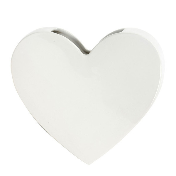 Decor Living: Wall Mounted Heart Vase - White image