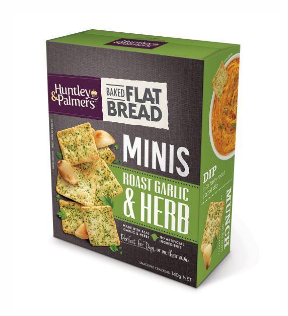 Huntley & Palmers Flat Bread Minis - Garlic & Herb (140g)