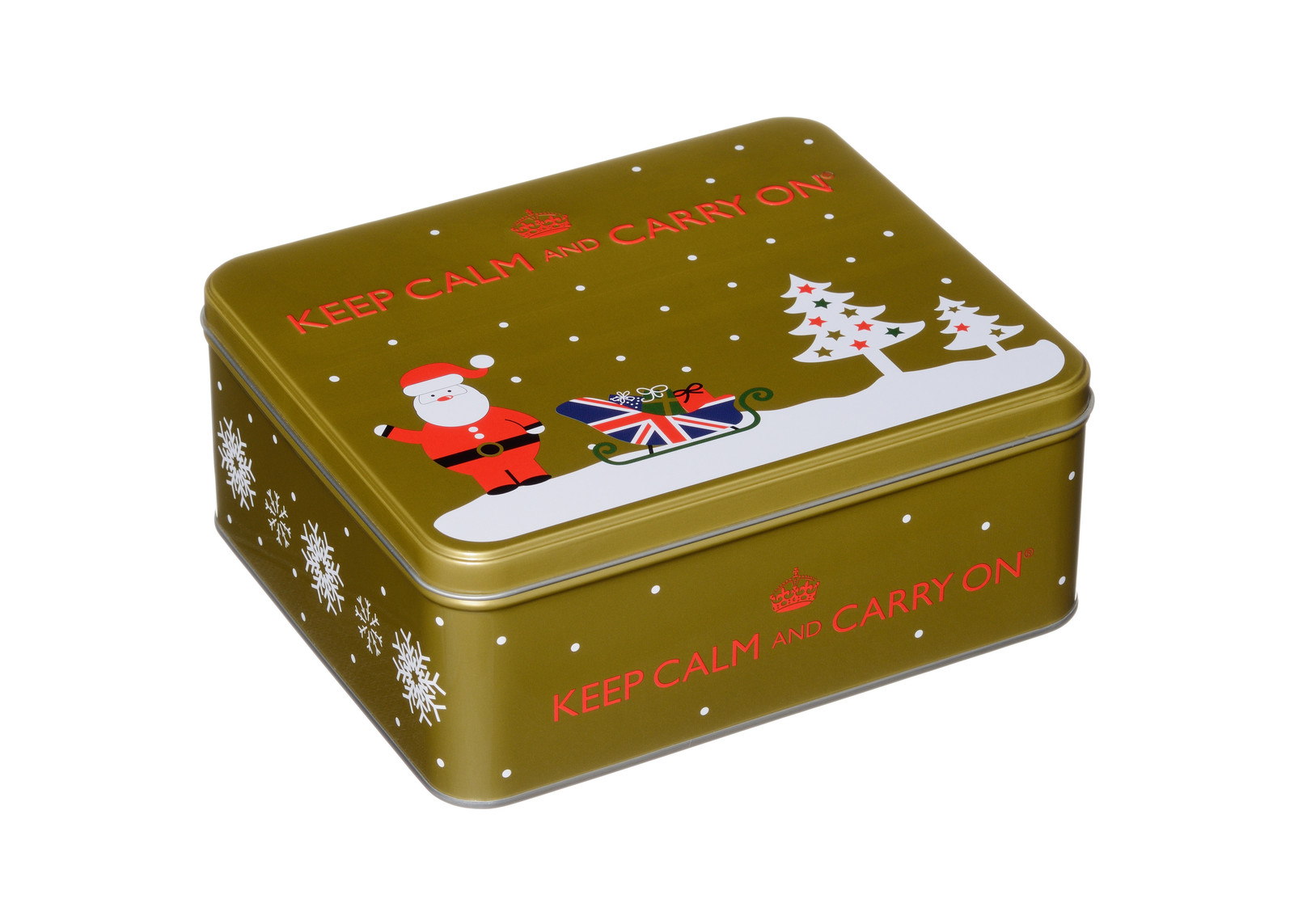 Keep Calm & Carry On Tea & Biscuits Festive Tin 225g image