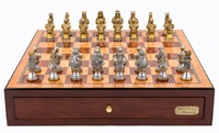 "Dal Rossi: Resin Medieval Warriors - 18"" Chess Set (Mahogany Finish)"