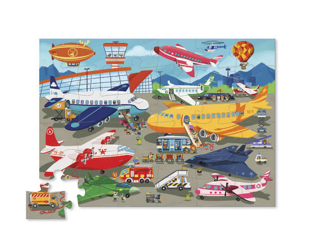 Crocodile Creek: Shaped Box Puzzle - Busy Airport (36pc)