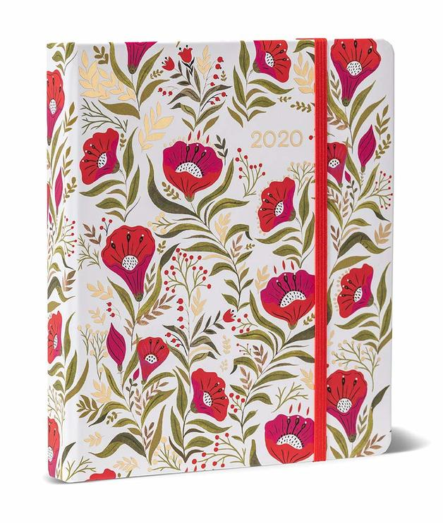 2020 High Note Dinara's Red Floral in Gold 18-Month Weekly Hardcover Planner