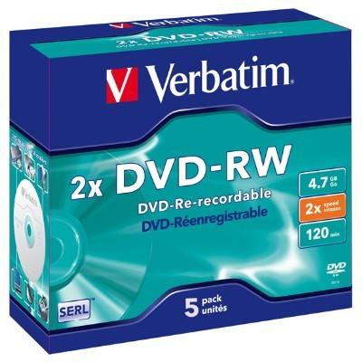 Verbatim DVD-RW 4.7GB 5Pk Jewel Case 2x image