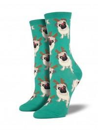 Antler Pug Crew Socks - Green