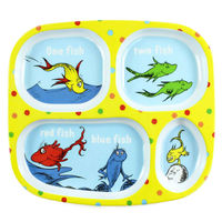 Bumkins: Dr Seuss Melamine Divided Plate - Yellow/Fish