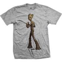 Avengers Infinity War Teen Groot Line Art Mens Grey TS: Med image