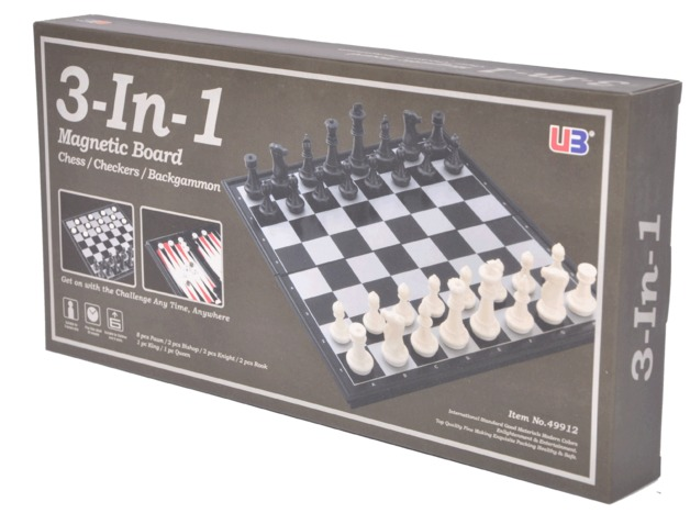 """Magnetic 3 in 1 (Chess/Checkers/Backgammon) 14"""""""