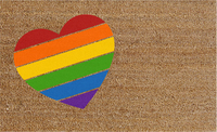 Natural Fibre Doormat - Rainbow Heart image