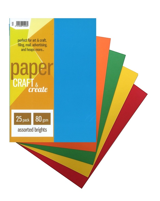 Craft & Create A4 80gsm Paper - Assorted Brights (25 Pack)