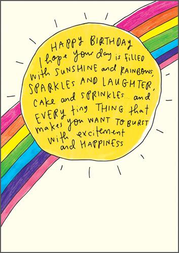 Happy News Birthday Greeting Card - Sun And Rainbow