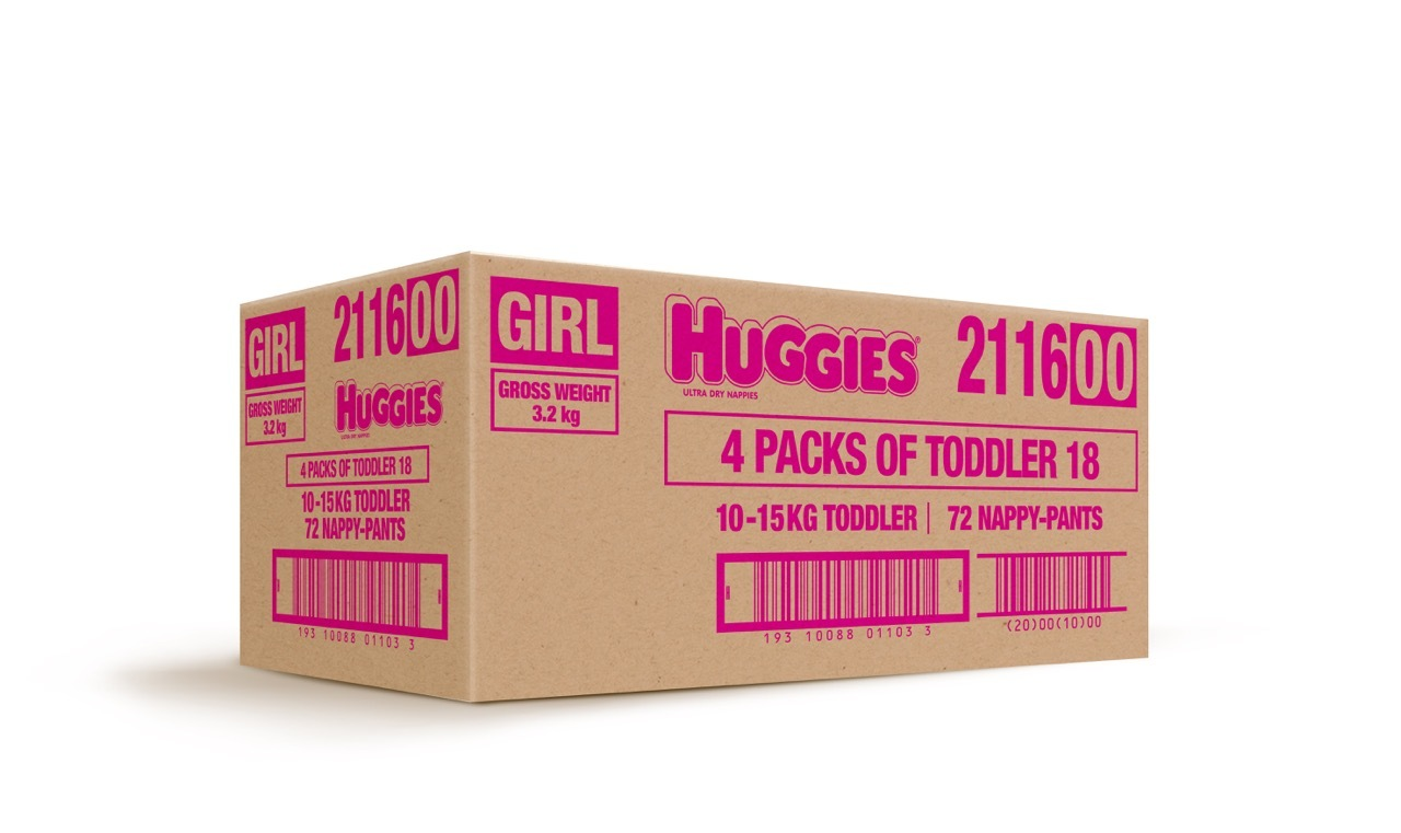 Huggies Ultra Dry Nappies Convenience Value Box - Size 4 Toddler Girl (72) image