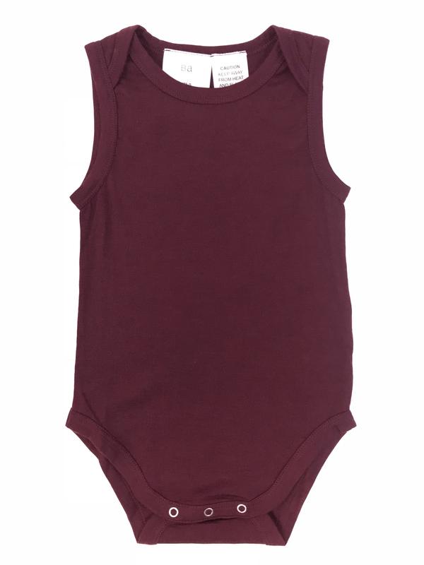Babu: Merino Singlet Bodysuit - Burgundy (3-6m)