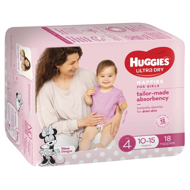 Huggies Ultra Dry Nappies - Size 4 Toddler Girl (18)