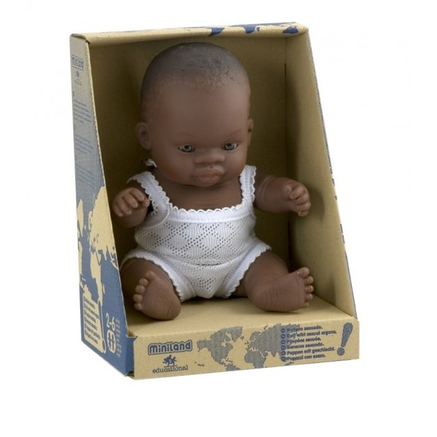 Miniland: Anatomically Correct Baby Doll - African Girl (38cm)