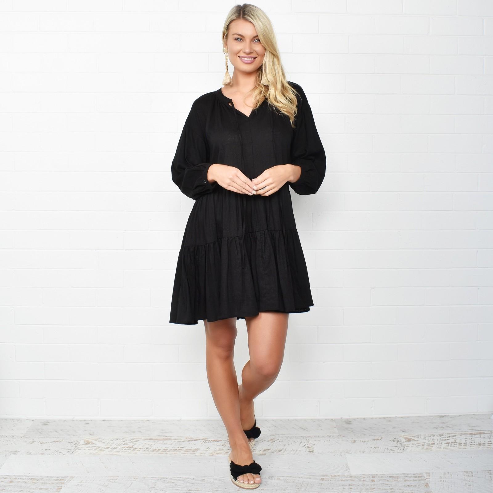 Adorne: Lulu Tiered Dress Black - M/L image