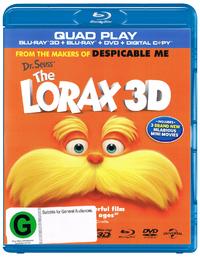 Dr Seuss' The Lorax on DVD, Blu-ray, 3D Blu-ray, DC