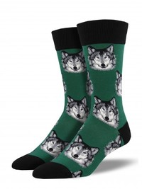 Men's Wolf Crew Socks - Hunter Green