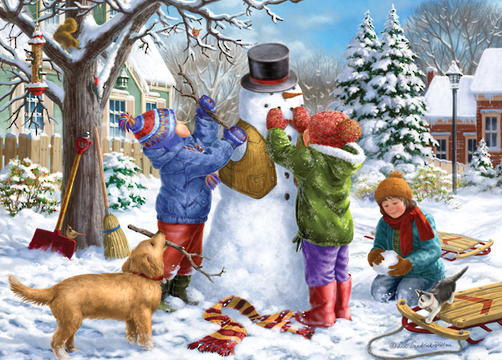 Holdson: Young at Heart - Kids And The Snowman - 500 Piece XL Puzzle image