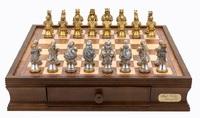 "Dal Rossi: Resin Medieval Warriors - 16"" Chess Set (Walnut Finish)"