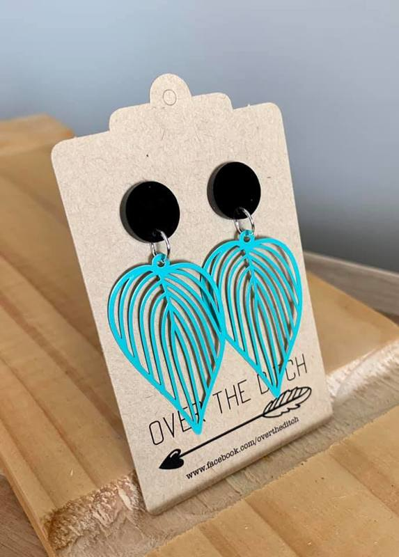 Over the Ditch: Leaf Dangle Earrings - Turquoise