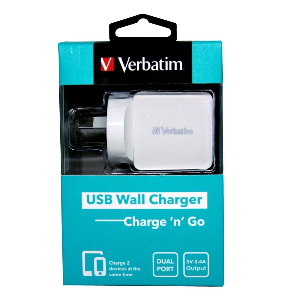 Verbatim Dual Port 3.4A USB Wall Charger - White image
