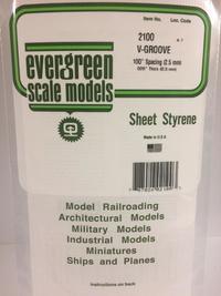 Evergreen Styrene V Groove 15X29cm X.5 mm Sp2.5 mm