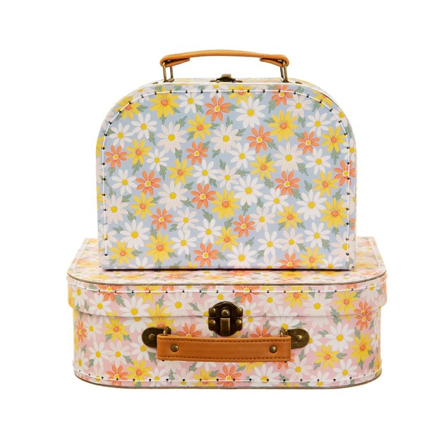Sass & Belle: Pink Daisy Suitcases - Set of 2