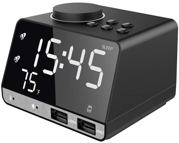 "Alarm Clock with USB Charger, 4.2"" LED Digital Alarm Clock with FM Radio, Bluetooth Speaker"