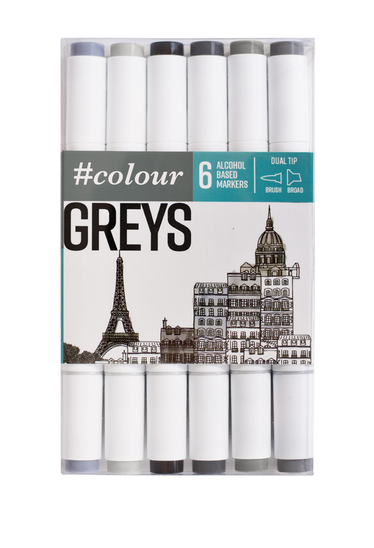 #Colour: Marker Set - Grey (6 Pack)