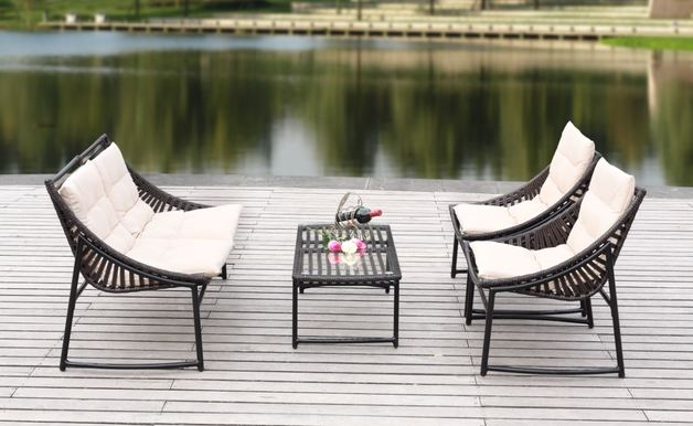 Rattan Wicker Outdoor Sofa Paradise Lounge Set 3 - Beige/Brown