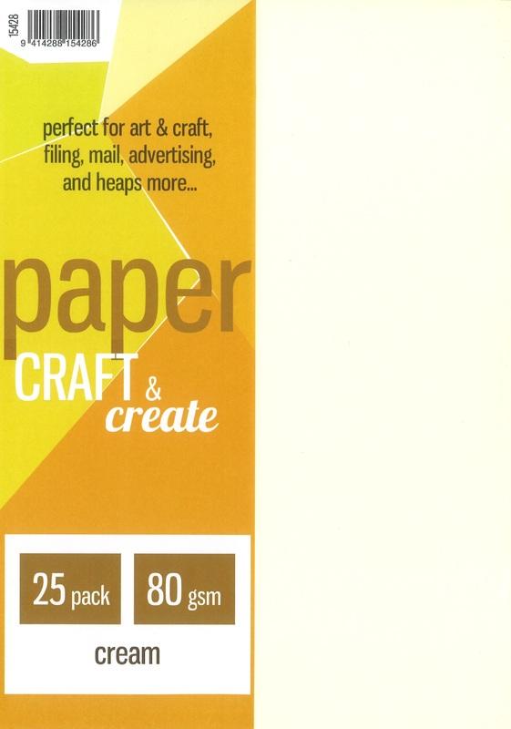Craft & Create A4 80gsm Paper - Cream (25 Pack)