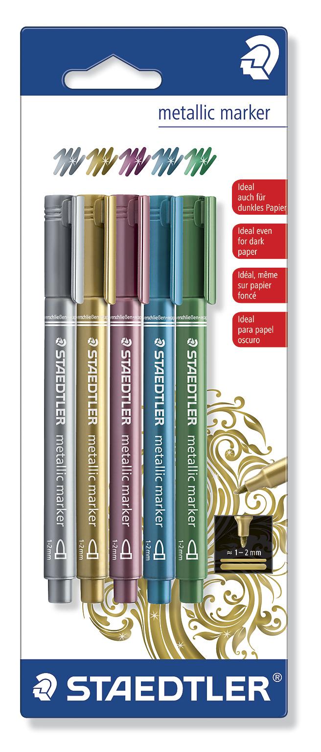 Staedtler Fibre Tip Pens Metallic (5 Pack) image