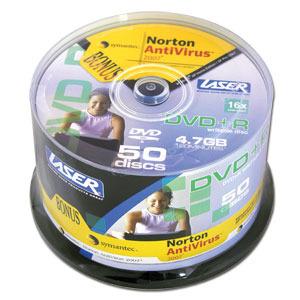LASER DVD+R 50Pk on Spindle with Norton AntiVirus white inkjet printable