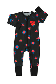 Bonds Zip Wondersuit Long Sleeve - Heart of Hearts Black (6-12 Months)