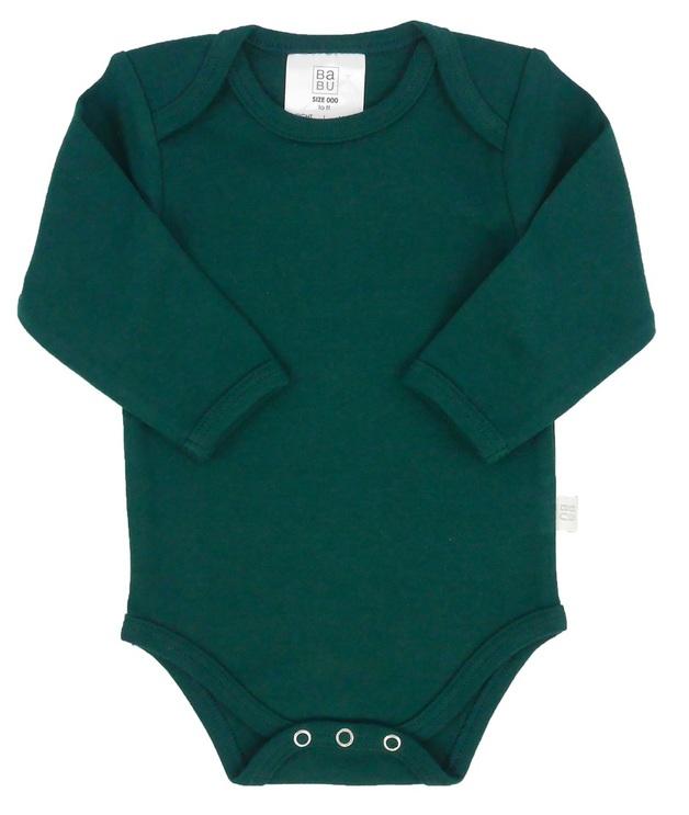 Babu: Organic Envelope Neck Sleeved Bodysuit - Tui Green (6-12m)